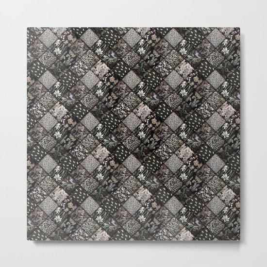 Faux Patchwork Quilting - Black Metal Print