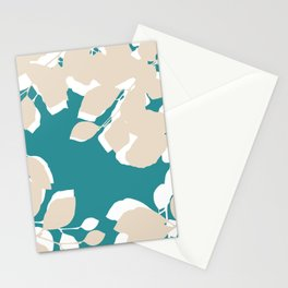 leves teal and tan Stationery Cards