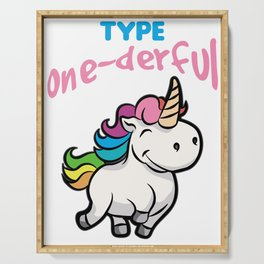 TYPE ONE DERFUL Diabetes Diabetic funny Unicorn Serving Tray