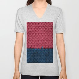 SHELTER / raspberry and ultramarine Unisex V-Neck