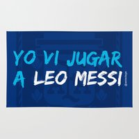 messi Area & Throw Rugs featuring  YO VI JUGAR A LEO MESSI (ARG) by Alberto Lamote de Grignon