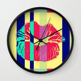 Bisou Bisou Pop Art Kisses Collage Wall Clock