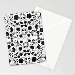 Black Mexican Flowers Stationery Cards