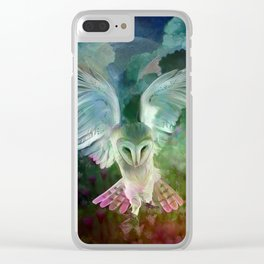 """""""Owl flight and spring night"""" Clear iPhone Case"""