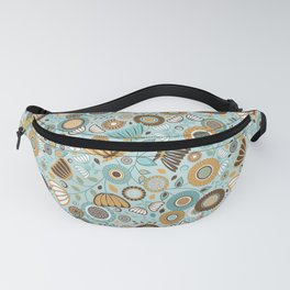 Scandinavian Floral - Gold Brown Turquoise Fanny Pack