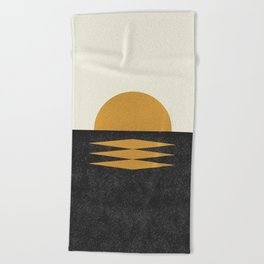 Sunset Geometric Midcentury style Beach Towel