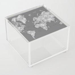 Dark gray watercolor world map with cities Acrylic Box