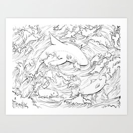 Shark Jump Art Print
