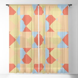 geometric retro colorful pattern Onmoraki Sheer Curtain