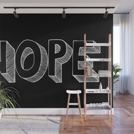 NOPE (black) Handlettered quote Wall Mural