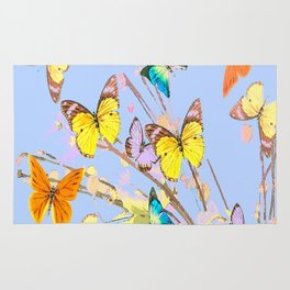 Playing butterflies on a summer day - lovely blue sky background - cheerful and happy Rug
