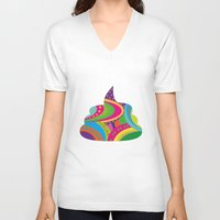 poop V-neck T-shirts featuring Poop Art by Azadeh Navabi