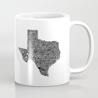 texas Mugs featuring Typographic Texas by CAPow!
