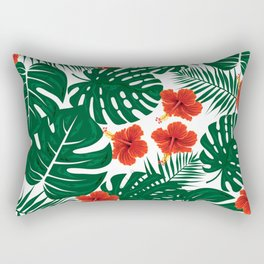 Tropical Leaves Hibiscus Flowers Rectangular Pillow