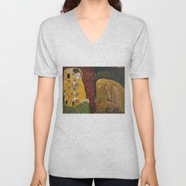 The Kiss & The Girl Who Lost Everything collage by Gustav Klimt and John Bauer portrait painting Unisex V-Neck