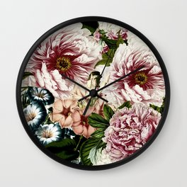 Vintage Peony and Ipomea Pattern - Smelling Dreams on #Society6 Wall Clock