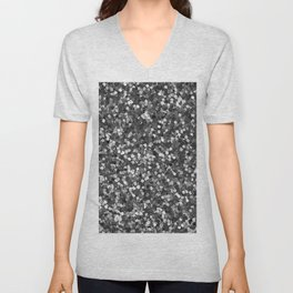 Dazzling Sparkles (Black and White) Unisex V-Neck
