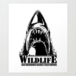 Shark. Scary jaws of deep sea waters. Art Print