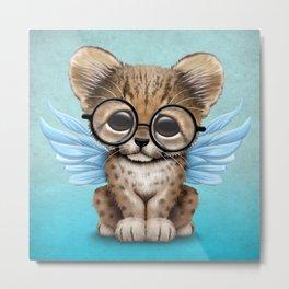 Cheetah Cub with Fairy Wings Wearing Glasses on Blue Metal Print