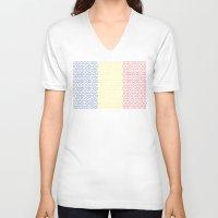 chad wys V-neck T-shirts featuring digital Flag (Chad) by seb mcnulty
