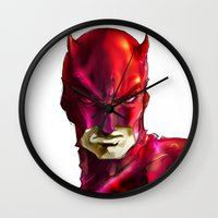 daredevil Wall Clocks featuring DAREDEVIL by peocle