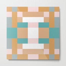 Creamy Pink Squares Metal Print