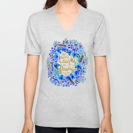The Earth Laughs in Flowers – Gold & Blue Unisex V-Neck
