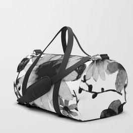 Vintage watercolor floral black Duffle Bag