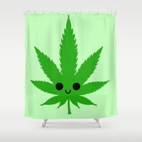 weed Shower Curtains featuring kawaii weed by kidkb09