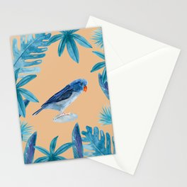 Blue Pacific Parrotlet with tropical leaves and a coral background Stationery Cards