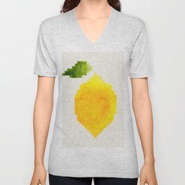 Geometric Watercolor Yellow Lemon Pixel Art Green Leaf Hard Edge Art Aztec Pattern Minimalist Mid Ce Unisex V-Neck