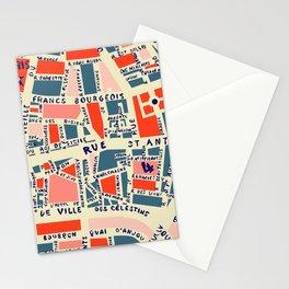 paris map blue Stationery Cards
