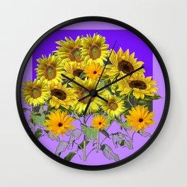 YELLOW SUNFLOWERS BOUQUET PANTENE PURPLE DECORATIVE ART Wall Clock