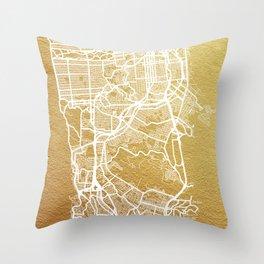 Gold San Francisco map Throw Pillow