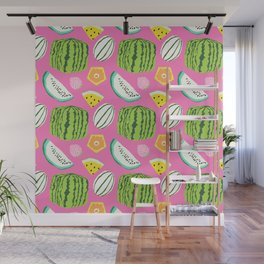 Unusual Japanese Fruits in Bright Pink Wall Mural