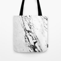 white marble Tote Bags featuring Marble by Judith Abbott