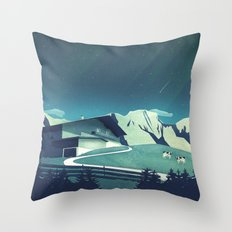 Alpine Hut Throw Pillow