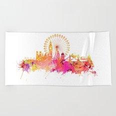 London skyline map city pink Beach Towel