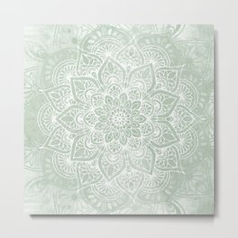 Mandala, Yoga Love, Sage Green, Boho Print Metal Print