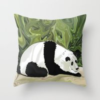 lee pace Throw Pillows featuring Driving at Panda Pace by Distortion Art