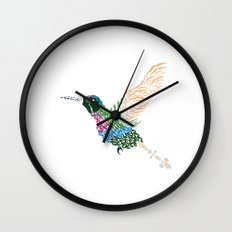Abstract Hummingbird ~ Garnet-throated Variant Wall Clock