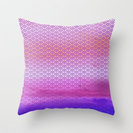 Magic Sunset/Purple Watercolor Seigaiha Pattern Throw Pillow