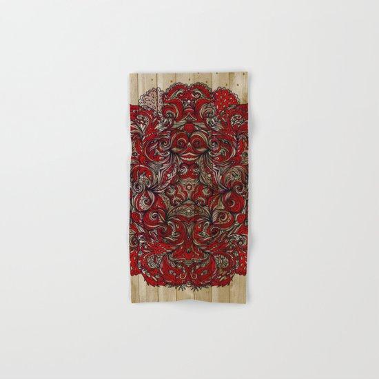 Red Indian Mandala on Wood Hand & Bath Towel