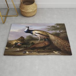 Tobias Stranover's Peacock, Hen and Cock Pheasant in a Landscape Rug