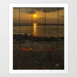 Colington North Carolina Swingset Sunset Art Print