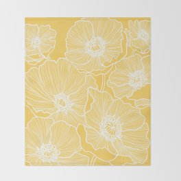 Sunshine Yellow Poppies Throw Blanket