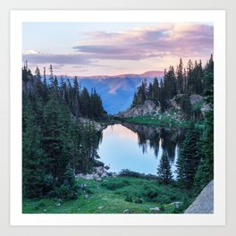 Hikers Bliss Perfect Scenic Nature View \ Mountain Lake Sunset Beautiful Backpacking Landscape Photo Art Print
