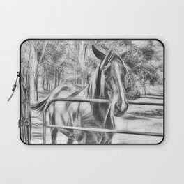 Calm horse standing near gate in Queensland Laptop Sleeve
