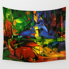 Deers in Wood by Franz Marc Wall Tapestry