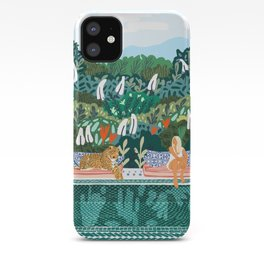 Chilling, Tropical Cheetah Leopard Tiger Wild Cat, Woman Vacation Swimming Pool Illustration iPhone Case